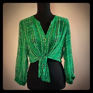 Kelly Green blouse with blue and white polka dots